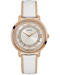 GUESS White Leather Strap Watch 40mm U0934l1