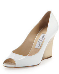 Jimmy Choo Baxen Patent Peep Toe Wedge White