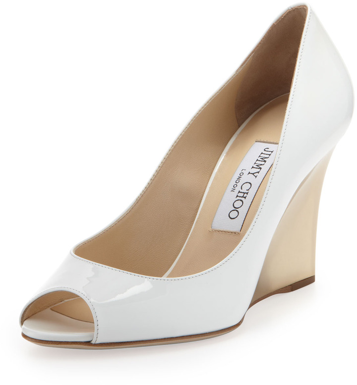 7aa85ecc9e5 ... Pumps Jimmy Choo Baxen Patent Peep Toe Wedge White ...
