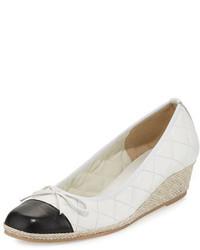 Margie quilted cap toe wedge pump white medium 647309