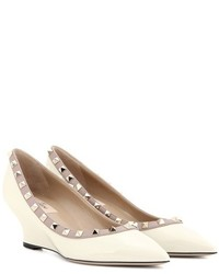 Valentino Garavani Rockstud Patent Leather Wedge Pumps