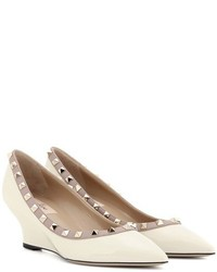 Valentino Rockstud Patent Leather Wedge Pumps