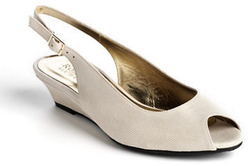 best high quality pretty cool $295, Ron White Elaine Suede Slingback Wedge Pumps