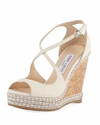 Jimmy Choo Dakota Wedge Espadrille Sandal Off White