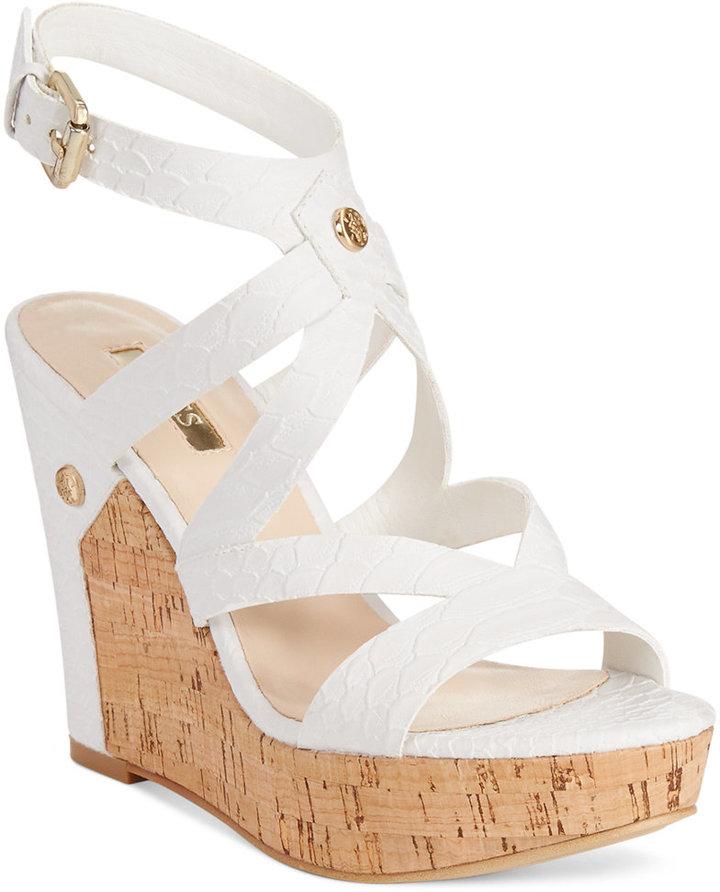 35ab3b8e0ad3 ... Leather Wedge Sandals GUESS Harlee Cork Platform Wedge Sandals ...
