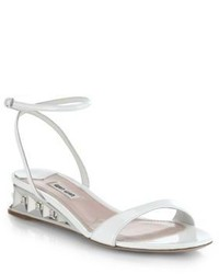 Miu Miu Mirrored Demi Wedge Patent Leather Sandals