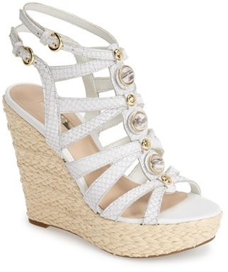 aae60305e5 ... White Leather Wedge Sandals GUESS Onixx Snake Embossed Leather Wedge  Sandal ...