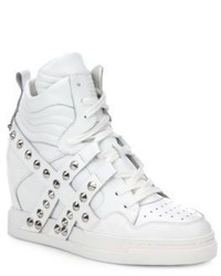 Ash Cl Studded Strap Leather Wedge Sneakers