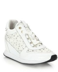Ash Dream Lace Croc Embossed Leather Wedge Sneakers