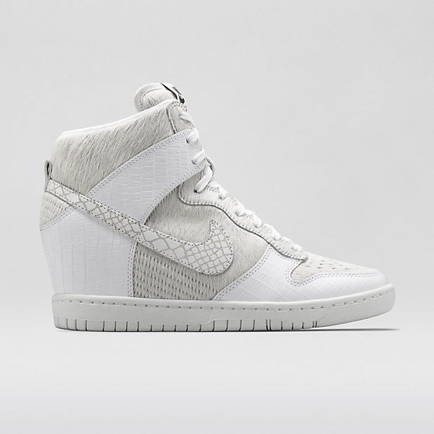 buy online 85004 c3977 ... White Leather Wedge Sneakers Nike Dunk Sky Hi Undercover Shoe ...