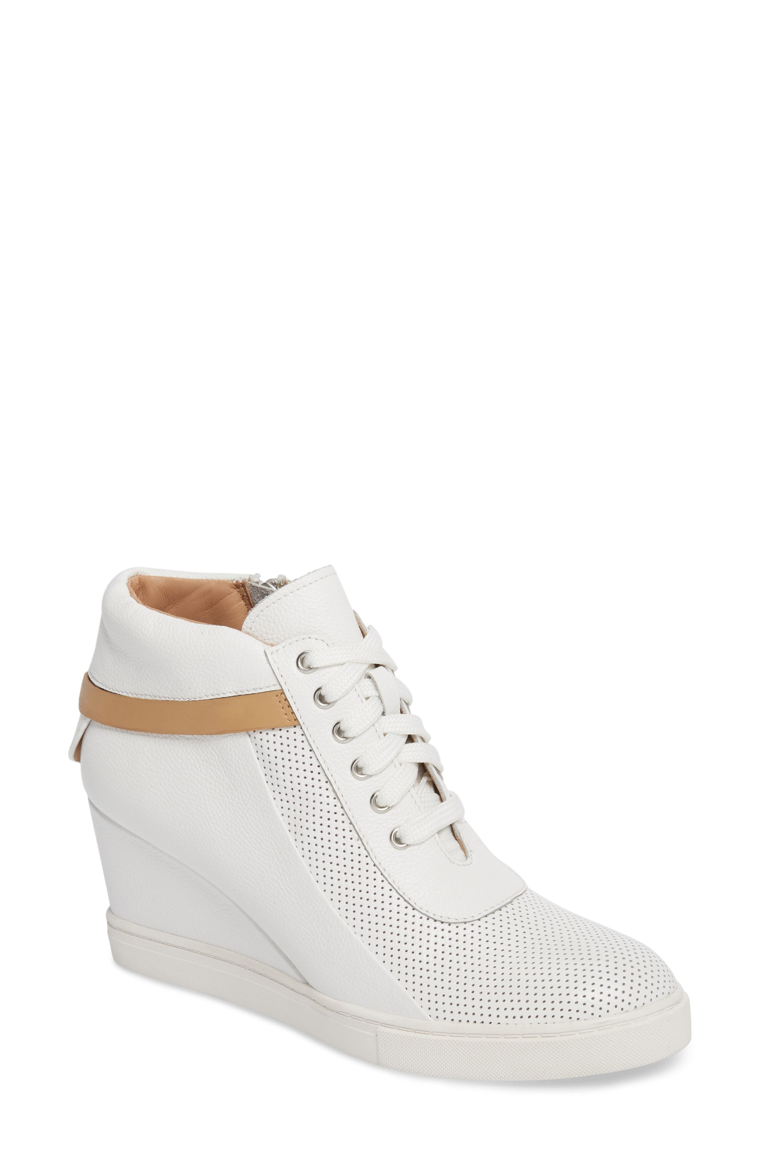 27c3af3d81e4 Freja Wedge Sneaker. White Leather Wedge Sneakers by Linea Paolo