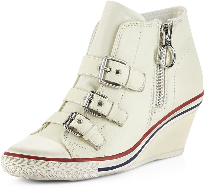 ... Ash Gin Bis Buckled Leather Wedge Sneaker Off White ...