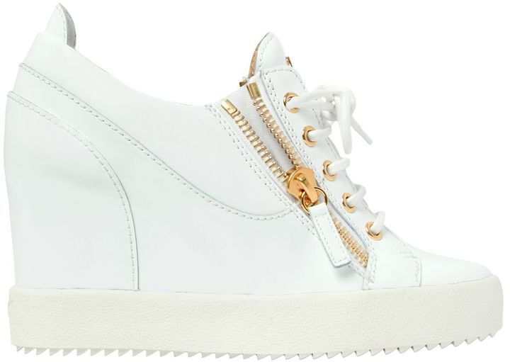 0d694aee17c0a ... White Leather Wedge Sneakers Giuseppe Zanotti Design 90mm Patent Leather  Wedge Sneakers ...