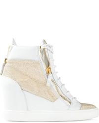 Giuseppe Zanotti Design Glitter Wedge Hi Top Sneakers