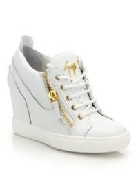 Giuseppe Zanotti Leather High Top Zip Wedge Sneakers