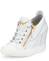 Lorenz zip front wedge sneaker white medium 644808