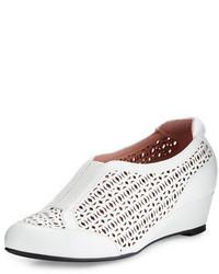 Parus laser cut demi wedge sneaker white medium 645040