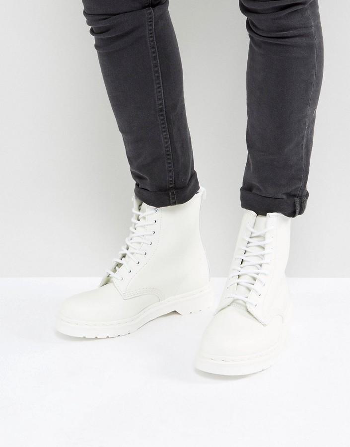 ec8c31e1967 ... White Leather Work Boots Dr. Martens Dr Martens 1460 Mono 8 Eye Boots  ...