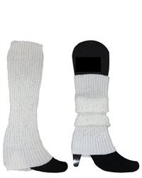 Dahlia Pearls Fancy Sparkling Fashion Ribbed Knit Soft Acrylic Leg Warmer White