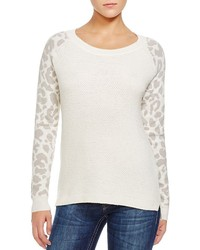 French Connection Leopard Sleeve Waffle Sweater