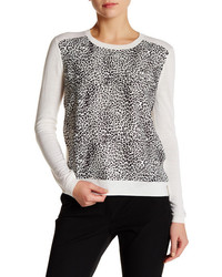 The Kooples Leopard Panel Wool Pullover