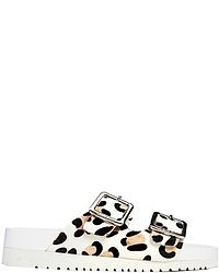 Senso ida iii white leopard print footbed flat sandals white medium 52435