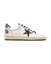 Golden Goose Deluxe Brand B Leopard Print Calf Hair And Leather Sneakers