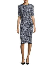 Michael Kors Michl Kors Leopard Print Half Sleeve Midi Dress Optic Whiteblack