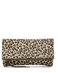 White Leopard Suede Clutch
