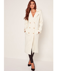 Missguided Lightweight Military Trench Coat White