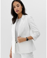 ASOS DESIGN Linen Blazer With Ruched Sleeve