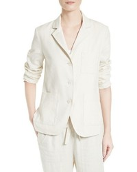 Linen silk three button blazer medium 1249673