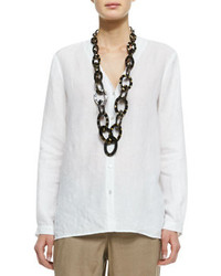 White Linen Button Down Blouse