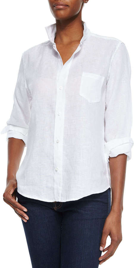 793f87cd ... Button Down Blouses Frank And Eileen Frank Eileen Long Sleeve Linen  Blouse White ...