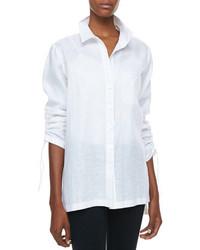 Go Silk Linen Ruched Sleeve Big Shirt Petite