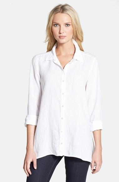 0f346f00 Eileen Fisher Organic Linen Classic Collar Boxy Shirt, $198 ...