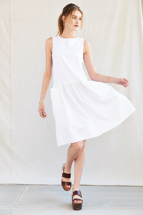 a396148bbb89 ... White Linen Casual Dresses UO Urban Renewal Remade Drop Waist Linen  Dress ...