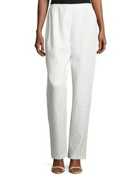 Caroline Rose Straight Leg Linen Pants White Petite