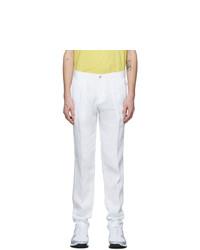 BOSS White Linen Crigan3 D Trousers
