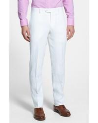 bba8a0c9ec ... Nordstrom Shop Flat Front Slim Leg Linen Trousers