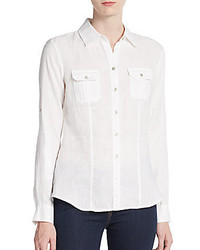Linen roll tab utility shirt medium 535960