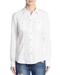 Roll tab sleeve linen shirt medium 535959