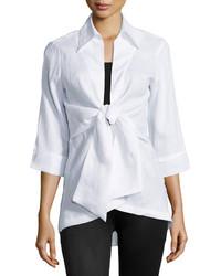 Neiman Marcus Linen Tie Front Blouse White