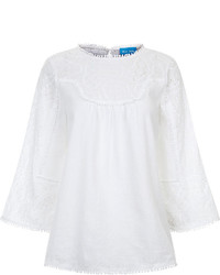 MiH Jeans Mih Jeans White Linen Blend Cell Blouse
