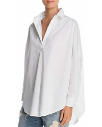 French Connection Rhodes Oversize V Neck Poplin Shirt