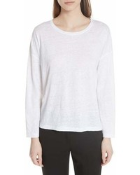 Vince Shrunken Linen Long Sleeve Top