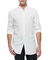 Lacoste Classic Fit Linen Shirt White