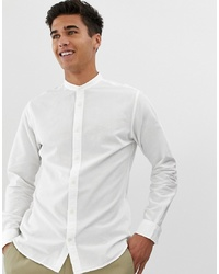 Jack & Jones Essentials Grandad Collar Linen Mix Shirt In Slim Fit