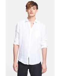 John varvatos collection slim fit linen sport shirt white large medium 267646