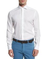 Ermenegildo Zegna Linen Long Sleeve Sport Shirt White